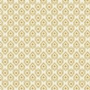 Lewis & Irene Cheiveley - 5635 - Gold Peacock Feathers on Cream (Metallic) - A244.1 - Cotton Fabric